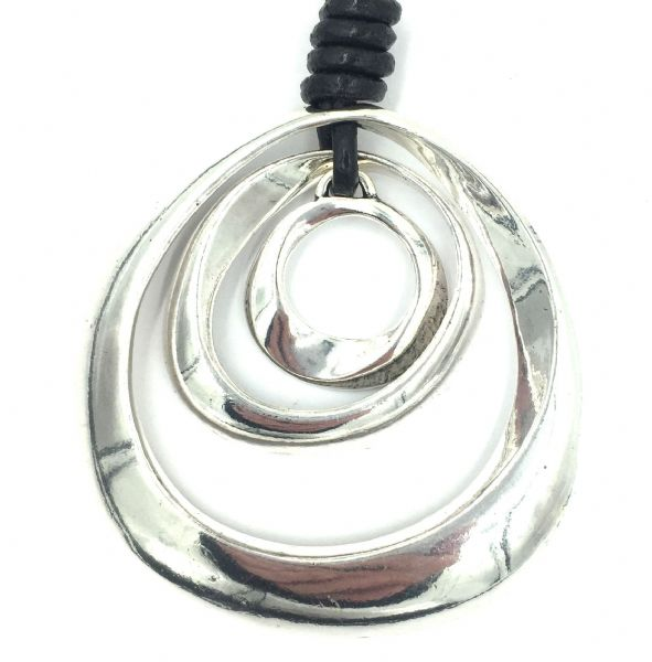 BIG Silver plated pendant with leather cord 32 inches - organic ring necklace 7cm dia (complete)